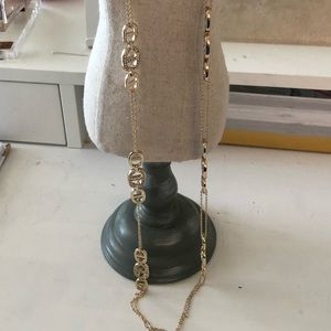 Gold and Rhinestone Accents Long Necklace